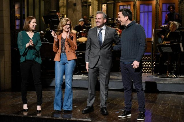 (L-R) Former The Office co-stars Ellie Kemper, Jenna Fischer, Steve Carell and Ed Helms appeared on this weekend's edition of SNL. Photo by Will Heath/NBC