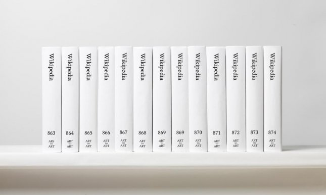 Michael Mandiberg's print version of Wikipedia is expected to total 7,600 volumes. Photo courtesy printwikipedia.com