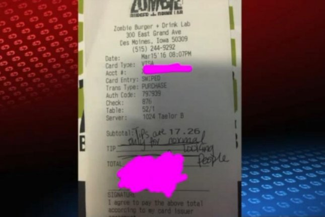 The customer at the Zombie Burger left no tip and wrote on the receipt that tips are only for normal looking people. Screenshot: WHO-TV
