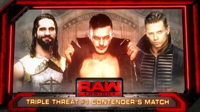 (Left to right) Seth Rollins, Finn Balor and The Miz met in a Triple Threat Match on Raw to determine the No. 1 contender for Dean Ambrose's Intercontinental Championship. Photo courtesy of WWE/Twitter