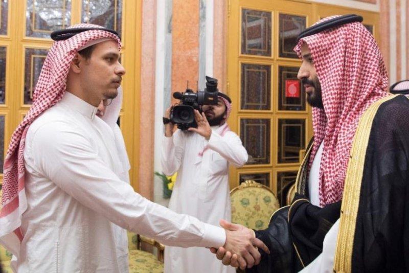 Salah bin Jamal Khashoggi (L), the son of slain reporter Jamal Khashoggi, meets with Crown Prince Mohammed bin Salman in Riyadh, Saudi Arabia, on Tuesday. Photo courtesy Ministry of Foreign Affairs for the Kingdom of Saudi Arabia/Twitter