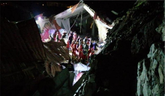 At least 15 people were killed and 29 were injured when a landslide caused a wall to collapse during a wedding at the Alhambra Hotel in the city of Abancay. Photo courtesy INDECIPeru/Twitter