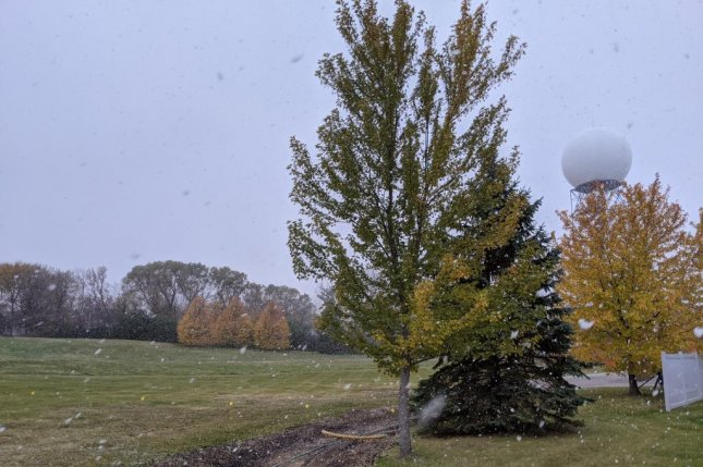 First flakes of the year fell at the National Weather Service's office in Chanhassen, Minn., which is a suburb of Minneapolis, on Friday. Photo courtesy National Weather Service/Twitter