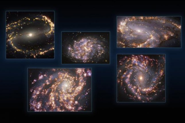 Portraits of nearby galaxies captured by VLT and ALMA have allowed scientists to identify concentrations of warm gas and young stars. Photo by ESO/PHANGS
