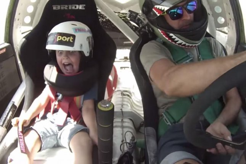 Drift racer Anton Avdeyev takes his 5-year-old son, Timofey, for a ride. Toja Avdeyev/YouTube video screenshot