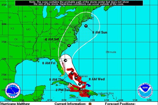 A storm track by the National Hurricane Center shows the path Hurricane Matthew is expected to take through Sunday. Forecasters said it may deliver a direct hit on the coasts of North and South Carolina. Image courtesy National Hurricane Center