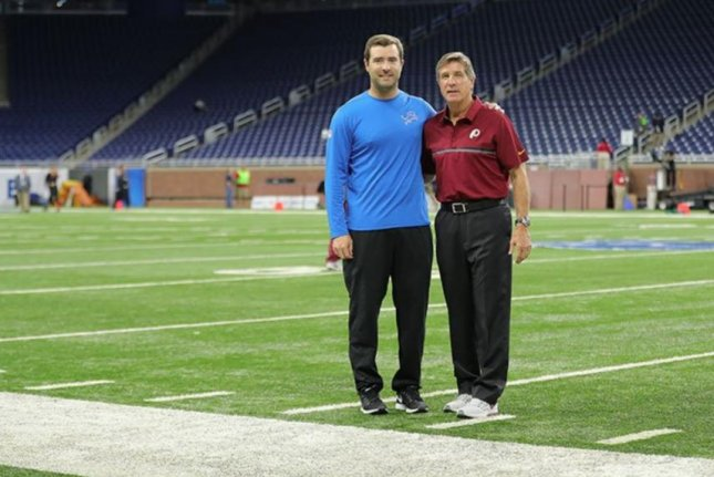 Brian Callahan with his father Bill Callahan. Photo courtesy of the Detroit Lions/Twitter.