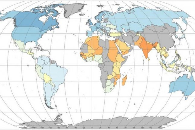 Scientists used 20-years of food systems research to rate the sustainability of food systems in countries across the globe. Blue represents higher levels of sustainability, while orange and red represent lower sustainability scores. Photo by Béné et al., International Center for Tropical Agriculture
