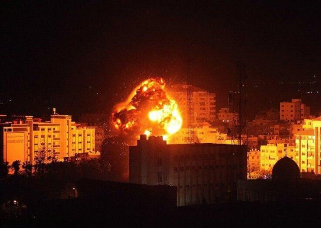 Israel Defense Forces attack Hamas and Islamic terrorist organization compounds within the Gaza Strip in retaliation to an earlier Hamas attack on Israel. Photo courtesy of Israel Defense Spokesman Ronen Manelis