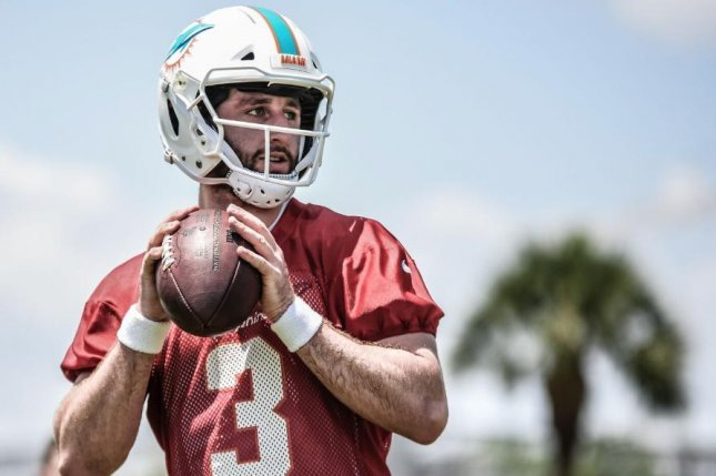 Miami Dolphins quarterback Josh Rosen completed 13-of-20 passes for 191 yards and an interception in the team's preseason opener against the Atlanta Falcons Thursday at Hard Rock Stadium in Miami Gardens, Fla. Photo courtesy of the Miami Dolphins