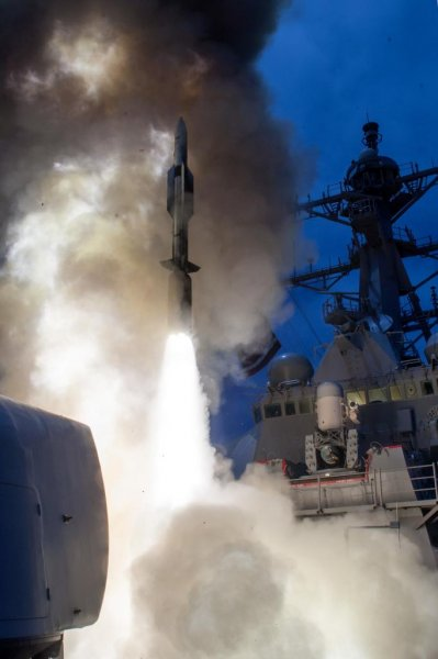 An SM-6 air defense missile is launched from a U.S. warship. Photo courtesy of U.S. Navy