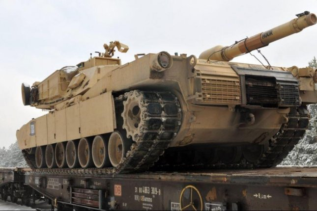 The Estonian Defense Forces said four U.S. Army M1A2 Abrams battle tanks and 15 Bradley Fighting Vehicles arrived in Estonia on Monday as part of Operation Atlantic Resolve. The troops who operate the equipment reached Estonia on Friday. Photo courtesy of U.S. Army Europe
