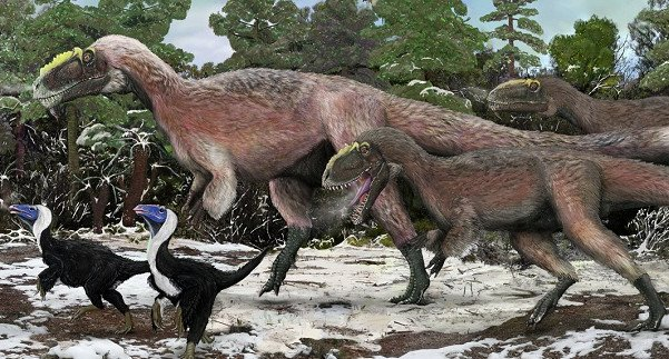 Artist's impression of a group of Yutyrannus. Credit: Brian Choo