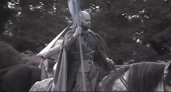 A re-enactor takes part in the commemoration of the Battle of Hastings, 950 years after William of Normandy defeated Anglo-Saxon King Harold II in 1066. Screenshot from BBC