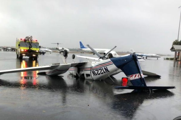 An airplane at the Tallahassee International Airport in Florida was flipped over as the storm moved through on Wednesday. Photo courtesy of City of Tallahassee/Twitter