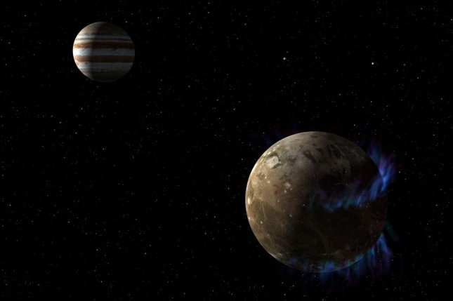 Interactions between the electromagnetic fields of Jupiter and its moon Ganymede produce especially bright auroras around the satellite. Photo by NASA