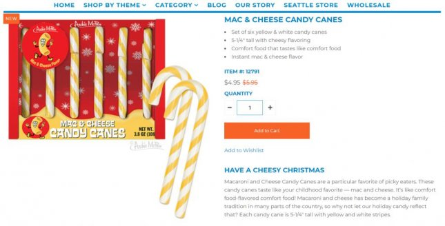Novelty company Archie McPhee is selling unusual candy canes that are macaroni and cheese flavored. Image by ArchieMcPhee.com