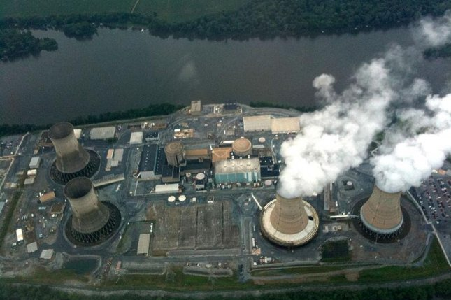 Nuclear reactor Units 1 and 2 are seen at the Three Mile Island Nuclear Generating Station in Londonderry Township, Pa. Unit 2, at left, sustained a partial core meltdown on March 28, 1979. Photo courtesy Marque1313/Wikipedia Commons