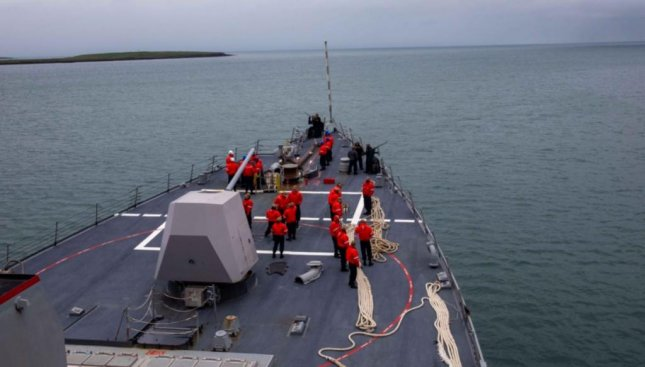 The guided-missile destroyer USS Roosevelt joined vessels of NATO allies on Friday to begin the anti-submarine warfare exercise Shark Hunt 21. Photo courtesy of U.S. Navy
