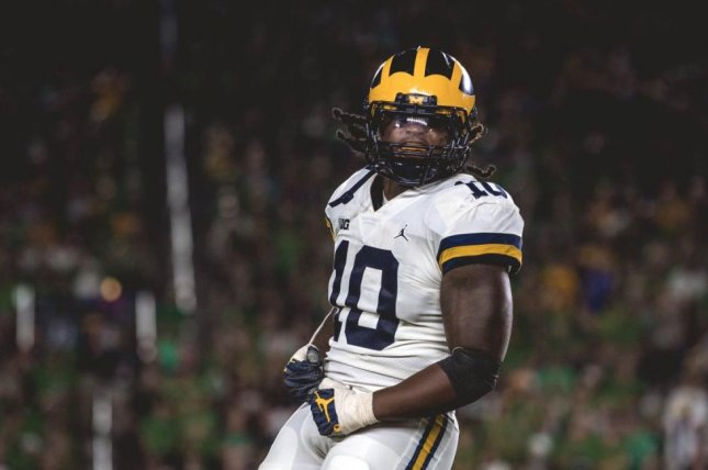 Former Michigan Wolverines standout linebacker Devin Bush (10) signed with Rosenhaus Sports a day after announcing he will skip the Peach Bowl and enter the 2019 NFL Draft. Photo courtesy of Michigan Football/Twitter