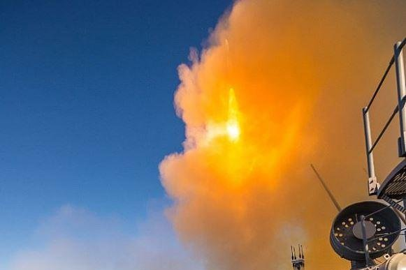 A missile launches and destroys an airborne training target during a successful first test of the updated Aegis Baseline 9 weapons system aboard the guided-missile cruiser USS Mobile Bay. Lockheed Martin won a $22.5 million contract, the Defense Department announced on Thursday, to similarly upgrade U.S. Navy warships. Photo by MCS1 Chad M. Butler/U.S. Navy/UPI