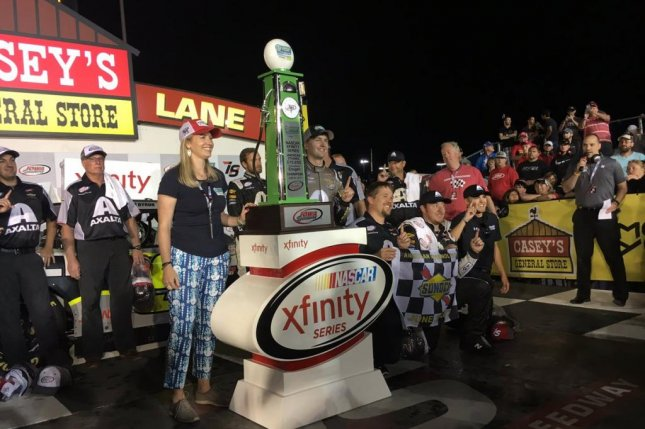 NASCAR rookie William Byron (centered) and his crew celebrate at victory lane after Byron's first-career Xfinity win at the American Ethanol E15 250. Photo courtesy of JR Motorsports/Twitter