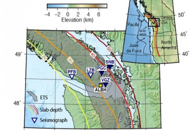A map of Vancouver Island shows the locations of seismic instruments considered by the research group. The grey shaded region delineates where slow earthquakes occur. Photo courtesy of University of Ottawa