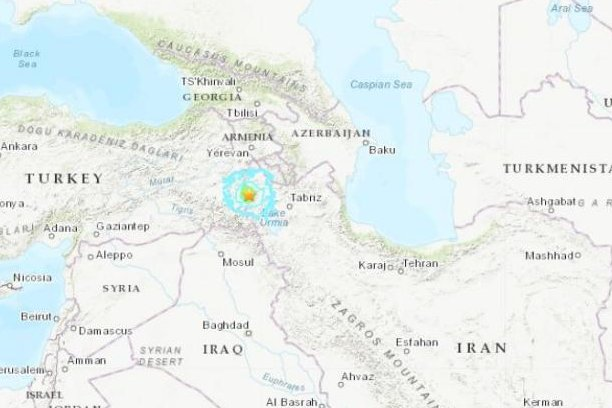 A 5.9-magnitude earthquake struck near the border between Turkey and Iran on Sunday morning. Map courtesy United States Geological Survey