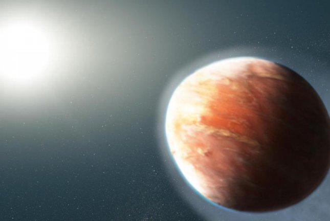 The illustration shows the gravity and heat of the hot Jupiter's host star pulling away the exoplanet's atmosphere. Photo by NASA/ESA/J. Olmsted