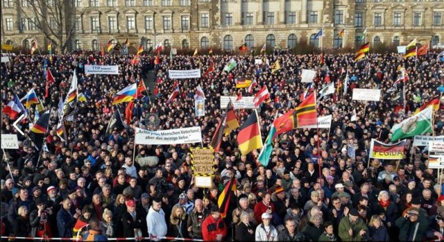 More than a thousand people gathered in Dresden, Germany, on Saturday to protest what they call the Islamization of Europe. Photo courtesy of Facebook/PEGIDA