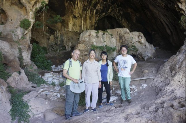 Stanford researchers found the world's oldest evidence of beer making inside Raqefet Cave, located near Haifa, Israel. Standing from left to right are: Dani Nadel, Li Liu, Jiajing Wang and Hao Zhao. Photo by Li Liu/Stanford University