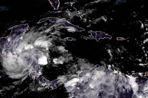 Iota weakened to a tropical storm by Tuesday afternoon. Photo courtesy of NOAA