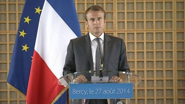 French Economic Minister Emmanuel Macron said an exit by Britain from the European Union would include the moving of a refugee camp in Calais, France, to england. Photo courtesy the Government of France/Wikimedia