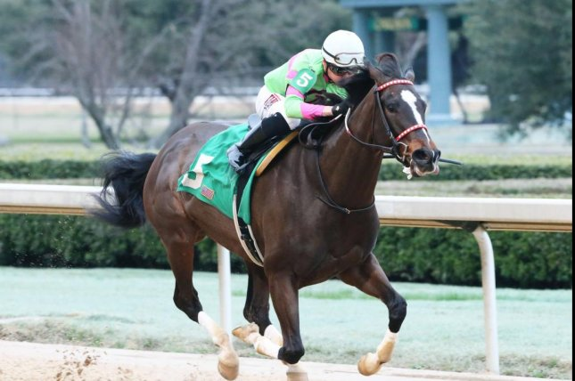 Amy's Challenge wins Saturday's Spring Fever Stakes at Oaklawn Park in Arkansas. Oaklawn photo