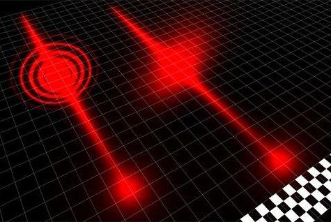 An illustration of the race between light beams. Photo by Heriot-Watt University.