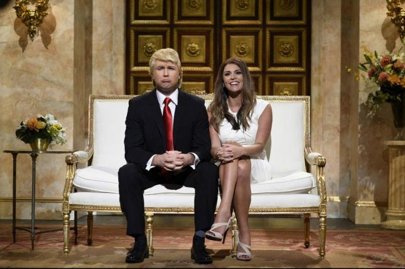 Taran Killam and Cecily Strong as Donald and Melania Trump on Saturday Night Live. Photo courtesy of NBC