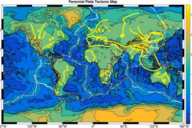 A new map published in the journal Nature Communications shows where ancient plate boundaries may continue to influence the structure and behavior of the earth's crust in the interior of tectonic plates. Photo by Russell Pysklywec/Philip Heron/Randell Stephenson