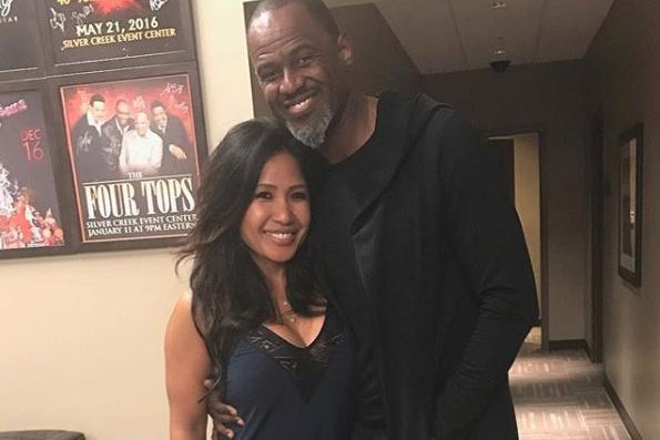 Brian McKnight (R), pictured with Leilani Malia Mendoza, shared photos Sunday from his wedding to Mendoza. Photo by Brian McKnight/Instagram