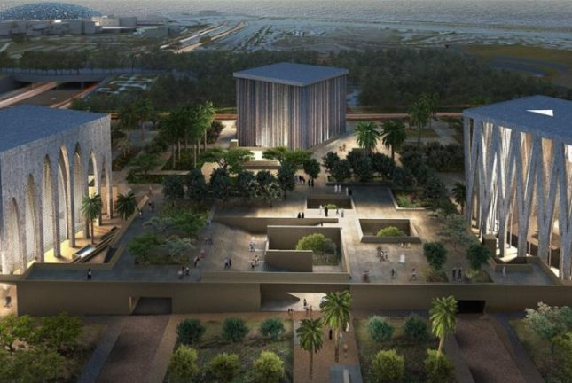 An aerial night view rendering of the proposed Abrahamic Family House, including a mosque, from left, church and synagogue, on Saadiyat Island in Abu Dhabi. Image courtesy of Adjaye Associates