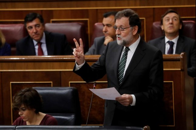 Spanish Prime Minister Mariano Rajoy speaks about the upcoming deadline for Catalonia's independence in a speech to parliament on Wednesday. Photo by Juan Carlos Hidalgo/EPA