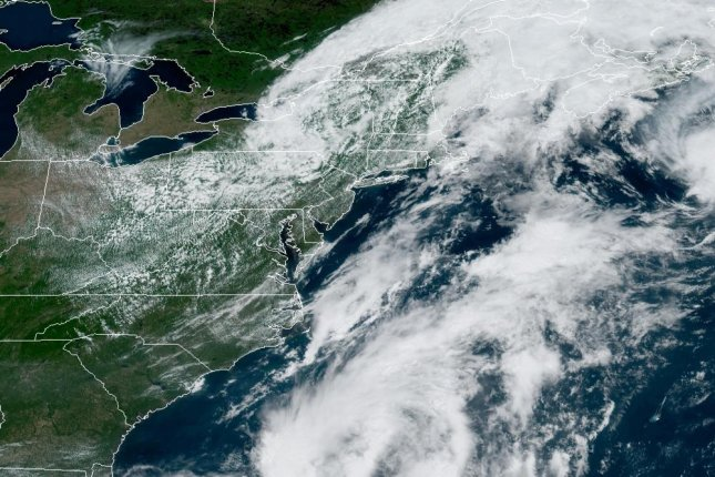 Tropical Storm Bill is seen about 400 miles off the U.S. East Coast on Tuesday morning. Image courtesy NOAA/NHC