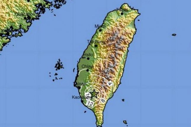 A map by the U.S. Geological Survey indicates the intensity of a 6.4 magnitude earthquake that struck in southern Taiwan Friday, causing structural damage near the city of Tainan. Image courtesy U.S. Geological Survey