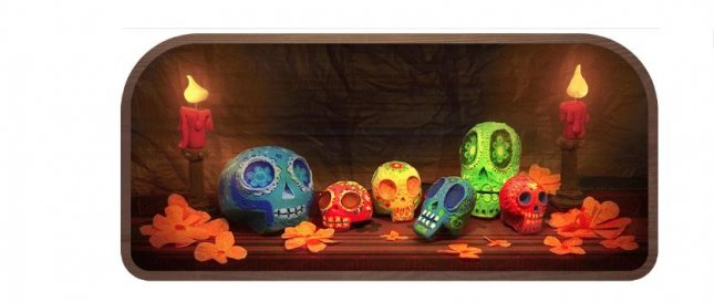 Google welcomes the Day of the Dead, or El Dia de los Muertos, in a new Doodle. Image courtesy of Google