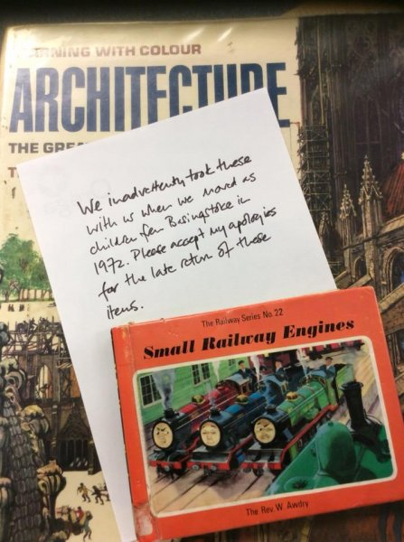 Two books were returned to the Basingstoke Discovery Center, a library in Hampshire, England, 48 years after their due date. Photo courtesy of theBasingstoke Discovery Center