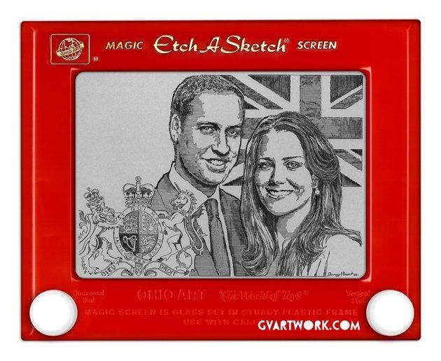Royal couple pictured on Etch A Sketch