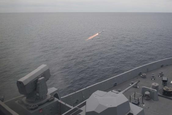 Rolling Airframe Missile being test--fired. Photo courtesy of the U.S. Navy