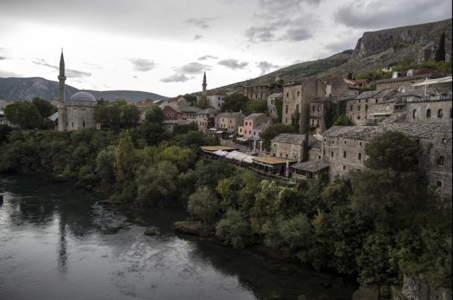 A view from the Neretva river and old town of Mostar, Bosnia and Herzegovina, on October 3, 2019. Photo by Erdem Sahin/EPA-EFE