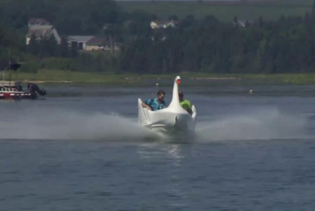 Birdy, a former Rainbow Valley amusement park ride, has found new life as a speedboat. CBC News/YouTube video screenshot