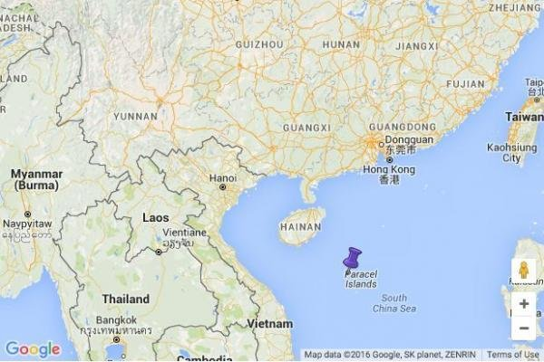 The Chinese military has stationed airmen in the Paracel Islands, also claimed by Vietnam and Taiwan. Image Courtesy of Google Maps