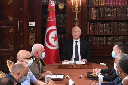 Tunisian President Kais Saied (C) on Sunday firedPrime Minister Hichem Mechich.Photo courtesy of The Office of the Tunisian President/Twitter